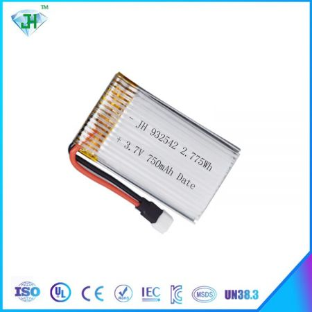 Factory supply rechargeable lithium battery rc helicopter 3.7v 750mah lipo battery 25c 932542  for Drone