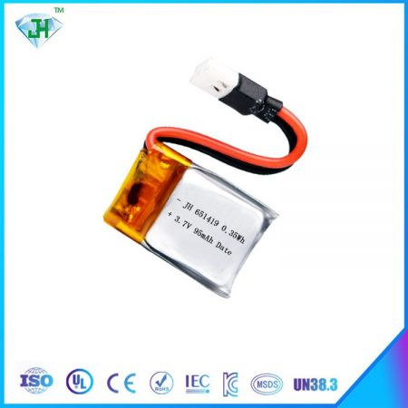 651419 3.7v 90mah lithium polymer battery for rc li-po helicopter battery