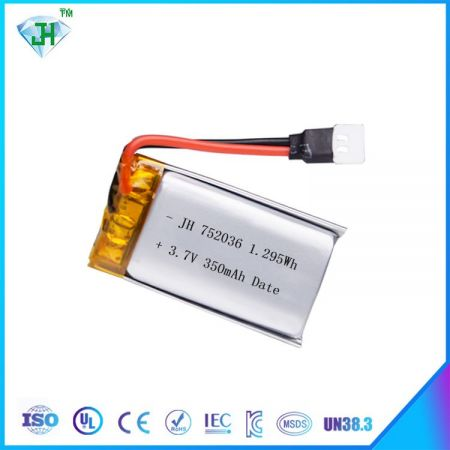 Lithium polymer battery 752036 350mah 20C for RC airplanes
